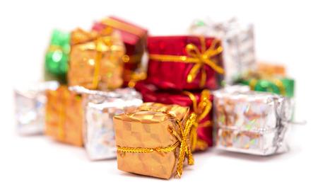 christmasy: gift boxes isolated on white background Stock Photo