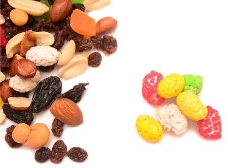 mixed nuts: fruit and nut mix isolated on a white background Stock Photo