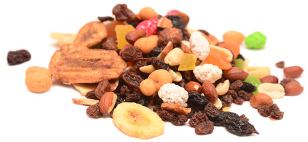 backcloth: fruit and nut mix isolated on a white background Stock Photo
