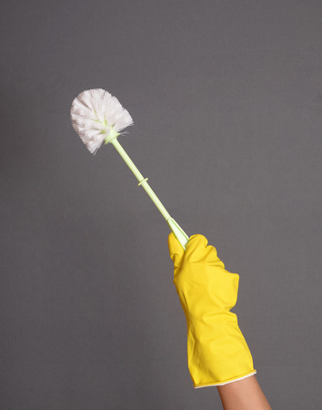 gloved: A gloved hand holding a clean toilet brush