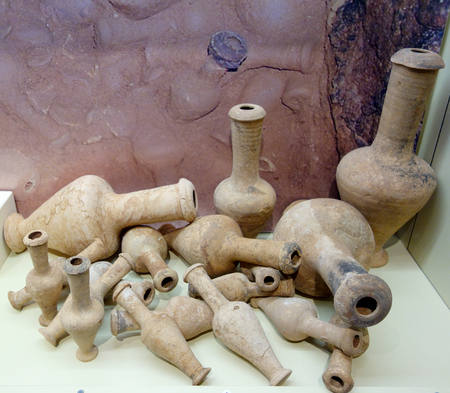 old clay jugs in museum
