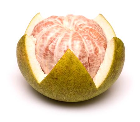 Fresh of pomelo fruit on white background Stock Photo