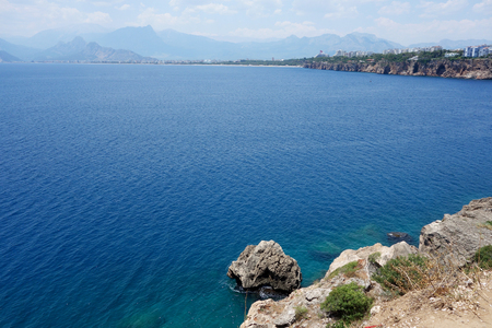 turquoise Mediterranean Sea and the rocky shore Stock Photo