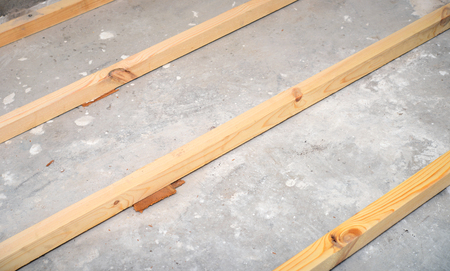 rafters: new wooden joists for floor repairs