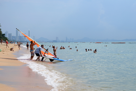 Preparation for windsurfing on the beach