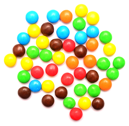 Multicolored candy on white background Imagens