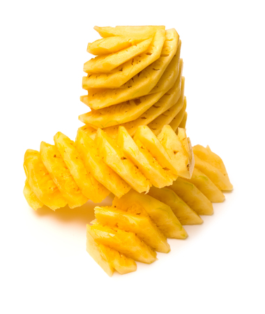 Peeled pineapple on a white background