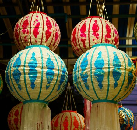 Traditional northern Thai style decorative lamp Stock Photo