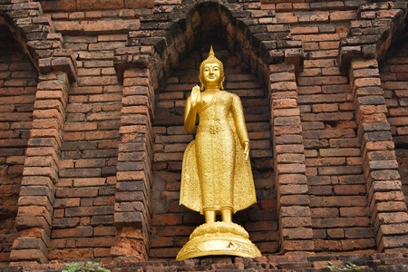 Buddha warrior stone statue, Thailand Stock Photo