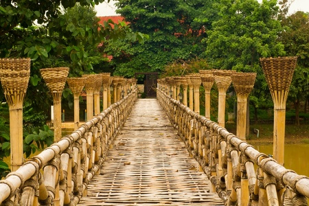 Wooden Bamboo bridge Stock Photo