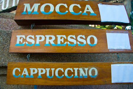 mocca: wooden coffee sing , mocca ,espresso, cappuccino
