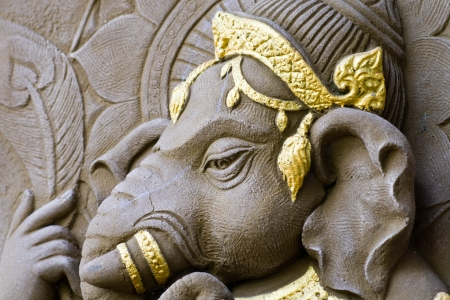 idol: closed up elephant - headed god, Buddhist beliefs. Stock Photo