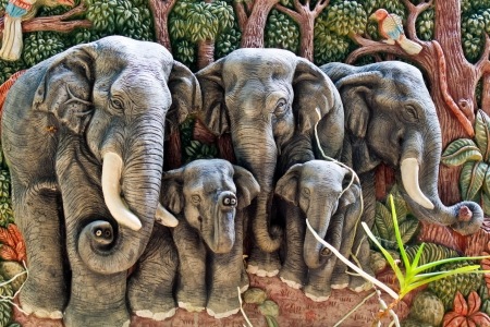 thai traditional on the wall ,elephant  mold