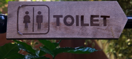 closed up toilet wooden sign ,men and women photo