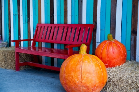 Large pumpkin sculptures placed near red bench photo