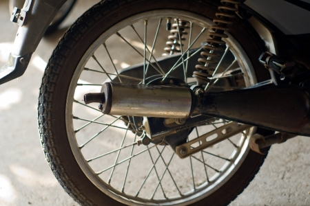 closed up old Old wheel motorbikes. Stock Photo