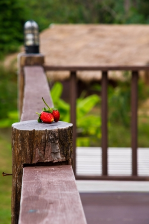 Rustic porch with strawberry paste on the pole Stock Photo - 24898448