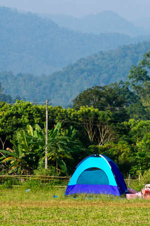 Winter camping near a mountain in Chiang Mai photo