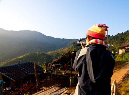Women were photographed on the high mountains of Chiang Mai, Thailand  Stock Photo