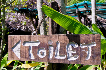 Close up wood toilet sign in public park photo