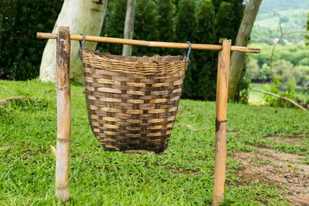 hand baskets: Bamboo baskets made by hand, use a garbage bin. Stock Photo