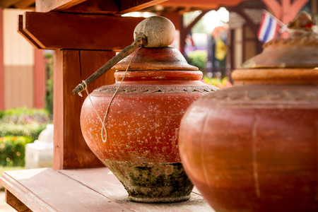 Thai Lanna style clay water pots ,closed up