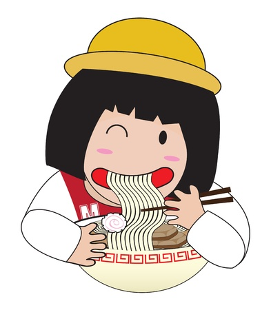 little girl  eat ramen Vector