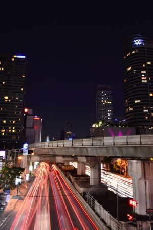 bangkok city at night, Sathon junction, Bangkok,Thailand Editorial
