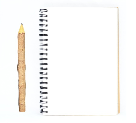 wood pencil and the blank note