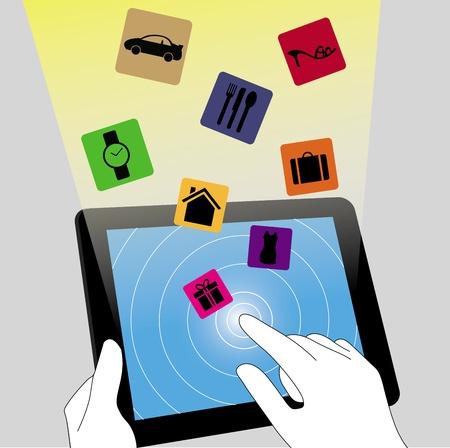 e commerce: E commerce on the tablet pc Illustration