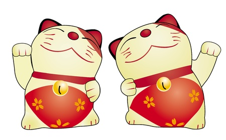 japanese cats isolated