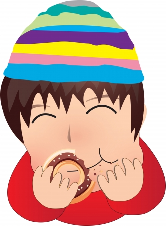 swallowing: The boy eat donut