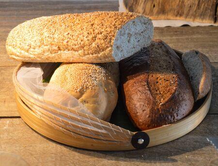 Bread in basket Stock Photo - 23482949