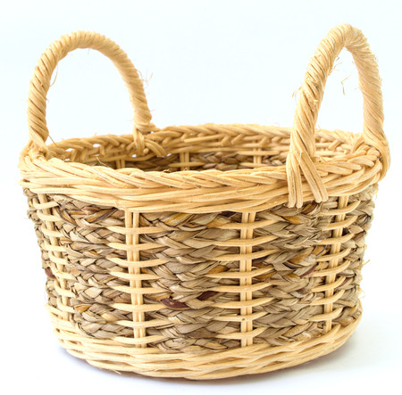 Handmade basket isolated Stock Photo