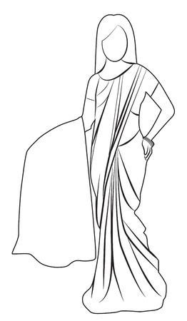 saree: Saree outline illustration isolated Illustration