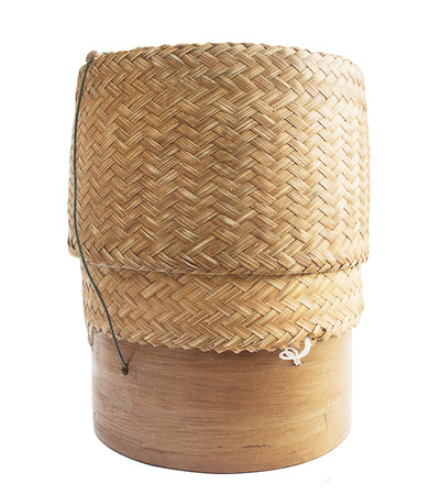 KRATIP,thai laos bamboo sticky rice container isolated