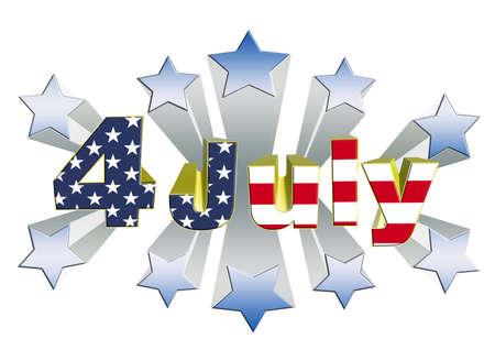 4 july independence day illustration 3D theme illustration