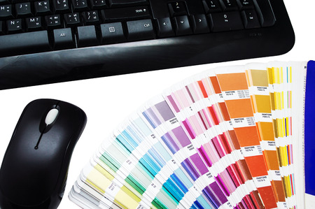 color swatches and keyboard isolated photo
