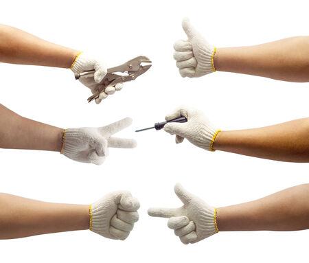 set of labor hand isolated photo