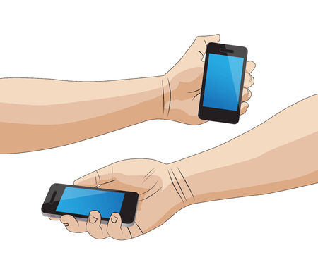 holding smart phone: Hand holding a smart phone isolated Illustration