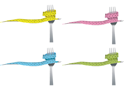 loose: color set of fork and measuring tape for a healthy lifestyle concept isolated