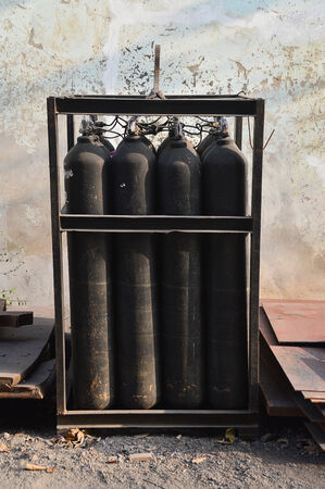 The Gas tanks for steel industry Stock Photo