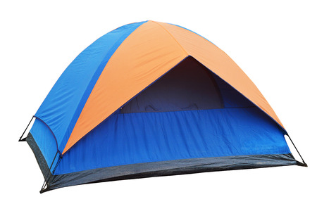 blue Tent on the white background Stock Photo