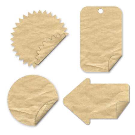 Tag-Papier Handwerk Stick auf wei�em Hintergrund