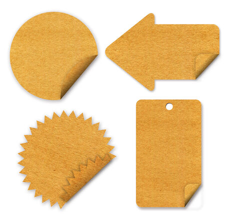 tag paper craft stick on white background photo