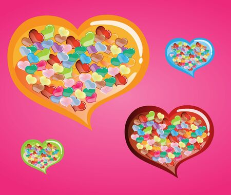 colurful: Heart Confetti with in Big colurful heart background Illustration