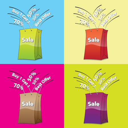 shoppingbag: colorful shopping bags for sale concept
