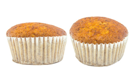 cupcakes isolated: banana cup cake isolated on white background