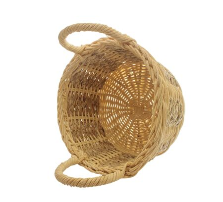 interleaved: empty vintage weave wicker basket isolated on white background