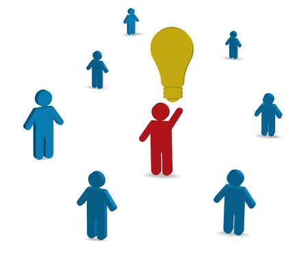Konzept der Idee, Business-Symbole auf dem wei�en Hintergrund